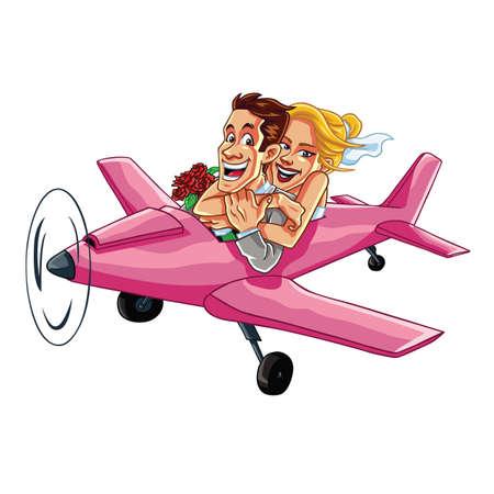Enkel Echtpaar Rijden Vliegtuig op een huwelijksreis Trip