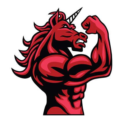 Unicornio Bodybuilder que presenta su cuerpo musculoso Ilustración de vector