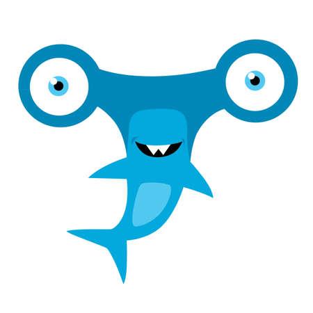 pez martillo: Tiburón martillo mascota de la historieta del vector Vectores