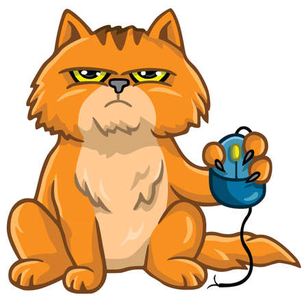 cat and mouse: Grumpy Cat Holding Computer Mouse Cartoon Illustration