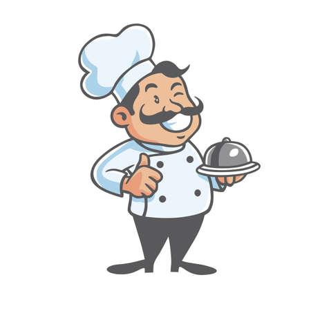 chef clipart: Happy Chef Mascot Vector Clipart