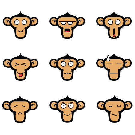 captivity: Monkey Face Expressions Vector Set Illustration