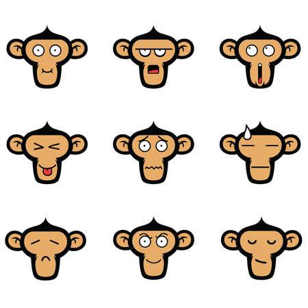 Monkey Face Expressions Vector Set Ilustração