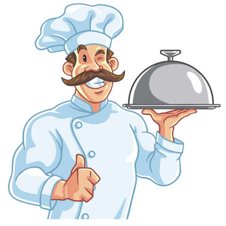 serving food: Healthy Fit Muscly Chef Serving Food
