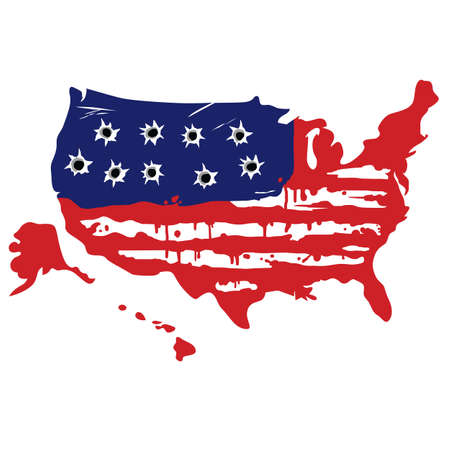 American Map With Bullet Holes Vector