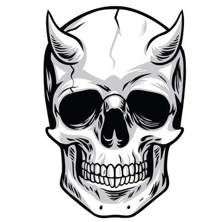 Demon Head Skull Vector Stok Fotoğraf - 60744762