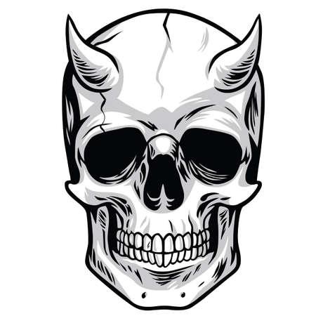 demonio: Vector de la cabeza del cráneo del demonio Vectores