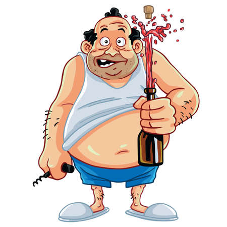 Fat Man Cartoon Opening Champagne Bottle Character Design