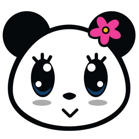 큰 눈을 가진 귀여운 팬더 소녀 만화 벡터