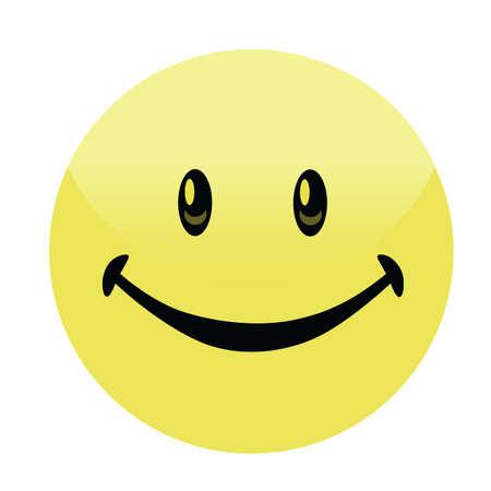 trato amable: Cara sonriente feliz del vector de la insignia del bot�n