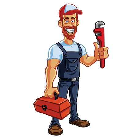 Plumber Cartoon Mascot Vector Illustration  イラスト・ベクター素材