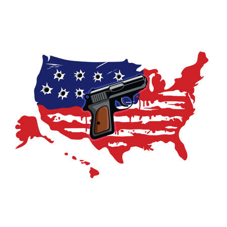 American Flag With Bullet Holes And Gun Vector Illustration