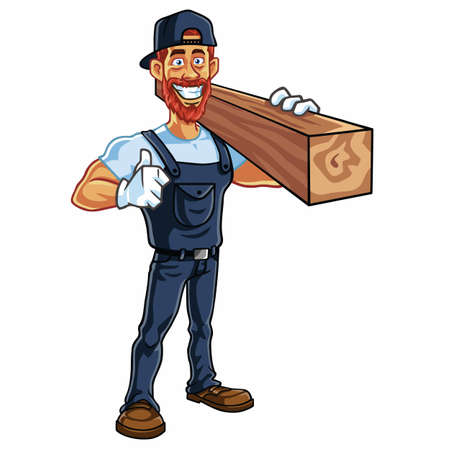 Carpenter Cartoon Mascot Vector Illustration Фото со стока - 60744931