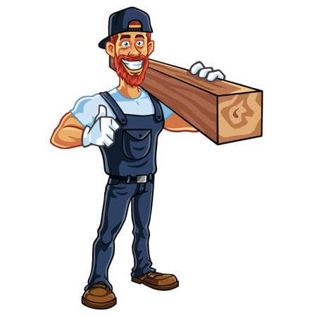 Ilustración de la historieta de la mascota del carpintero