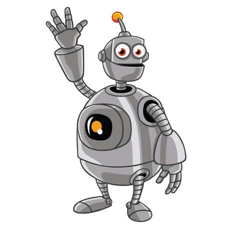 cute robot: Cute Robot Cartoon Waving Hand Illustration