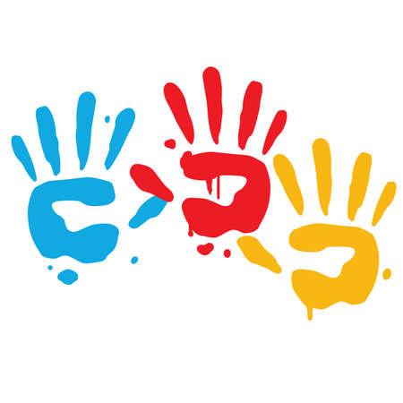 playful: Kid Playful Hand Prints Vector Art