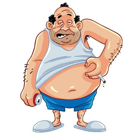 Fat Man kouření a pití Koks Character design