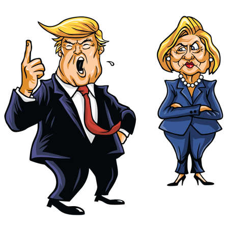 trump: Presidential Candidates Donald Trump Vs Hillary Clinton Cartoon Illustration