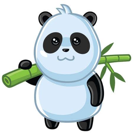Cute Little Panda Carrying Bamboo Cartoon Vector Illustration