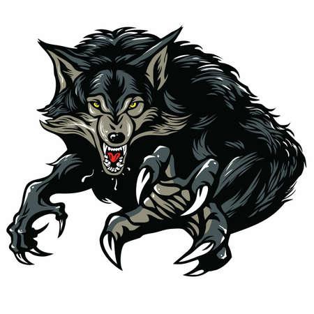garra: Carácter del hombre lobo de diseño de ilustración vectorial