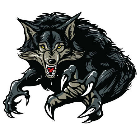 wilkołak: Wilkołak Charakter projektu ilustracji wektorowych Ilustracja