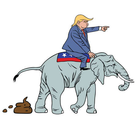 trump: Donald Trump Riding Republican Elephant Caricature Vector Illustration Illustration