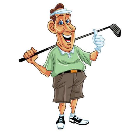 Golfer Man Cartoon MAscot Vektorové ilustrace Ilustrace
