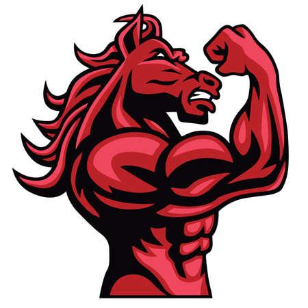 붉은 말 보디 그의 근육질 몸 포즈