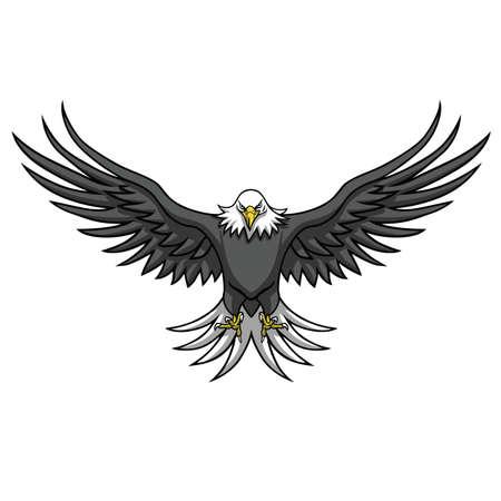 독수리 마스코트 확산 날개 벡터 일러스트 레이션