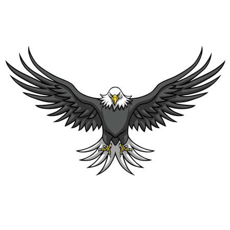 Eagle Mascot Spread The Wings Vector Illustration