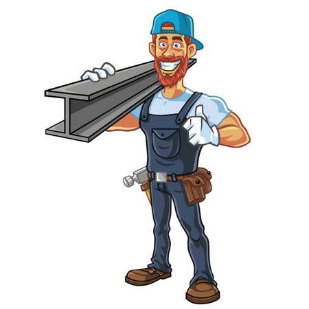 Hipster Repairman Cartoon Character Design Vector Illustration