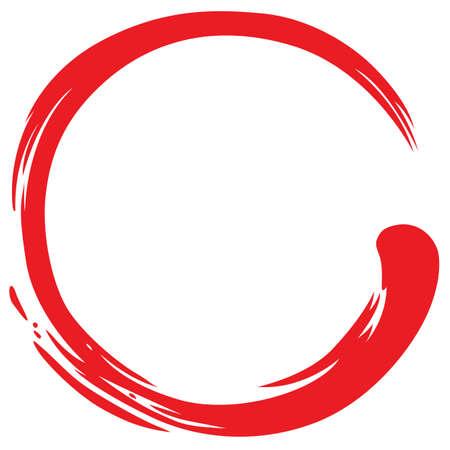 Rojo Zen Círculo simple símbolo Ilustración de vector