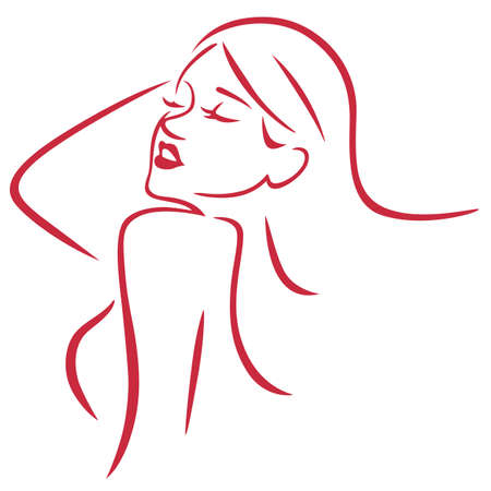 Beautiful Sexy Woman Simple Art Line Vector