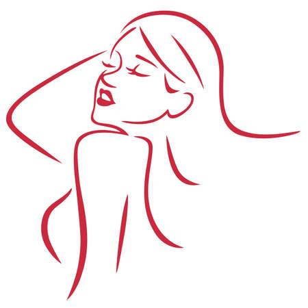Beautiful Sexy Woman Simple Art Line Vector