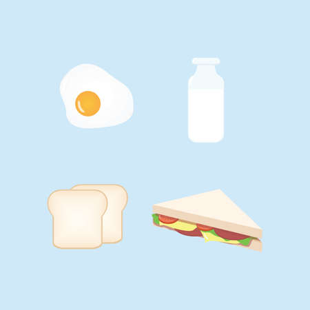 Breakfast Design Set Vector Illustration 일러스트