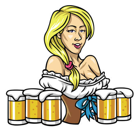 Oktoberfest Sexy Girl Holding The Beers Vector Illustration