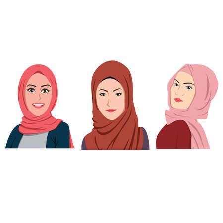 Muslim Girls Avatars Set Traditional Hijab Collection Illustration