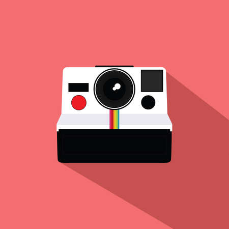 'catch the moment': Vintage Camera Flat Design Vector Illustration Icon