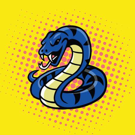 Viper Snake Pop Art Style Vector Illustration