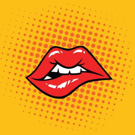 Sexy Biting Lips Pop Art Vector Illustration