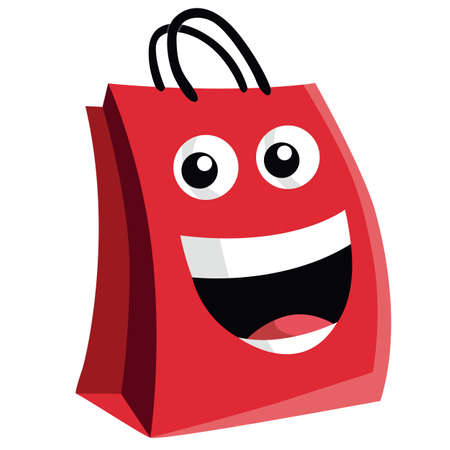 box open: Shopping Bag Cartoon Character Design