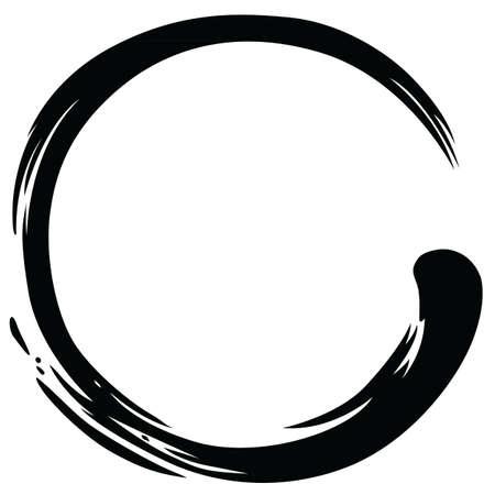 Zen Circle Paint Brush Stroke Vector Illustration