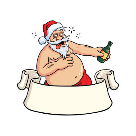 Drunk Santa Claus Drinking Booze. Christmas Greeting Card Vector