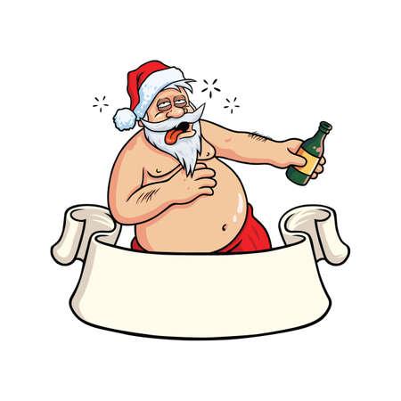 Papá Noel borracho que bebe alcohol. Vector de la tarjeta de felicitación de Navidad