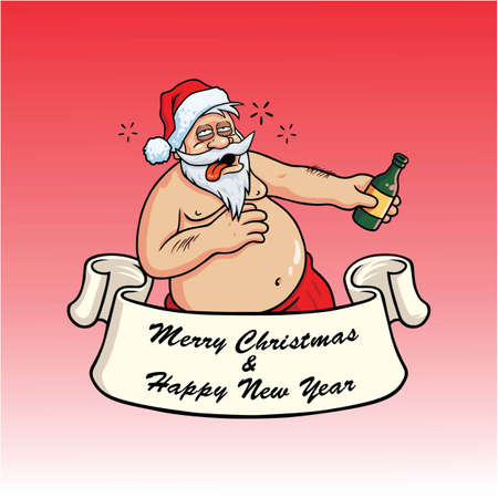 booze: Drunk Santa Claus Drinking Booze. Christmas Greeting Card Vector on Blue Background