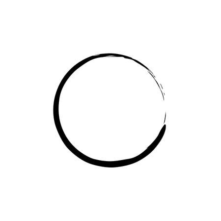 china watercolor paint: Black Enso Zen Circle on White Background. Vector illustration
