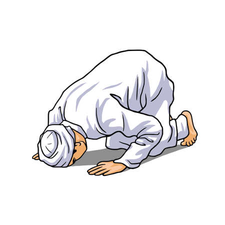 Moslim Doend Salah, Salat, Shalat, Sholaat, Sujud Vector
