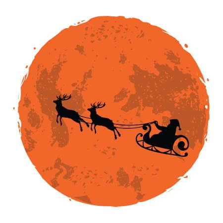 Christmas Illustration of Santa and His Reindeer on Full Moon Background 向量圖像