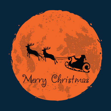 Santa and His Reindeer on Full Moon Background Christmas Greeting Card 向量圖像