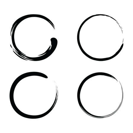 Enso Zen Brush Strokes Black Ink Vector Set